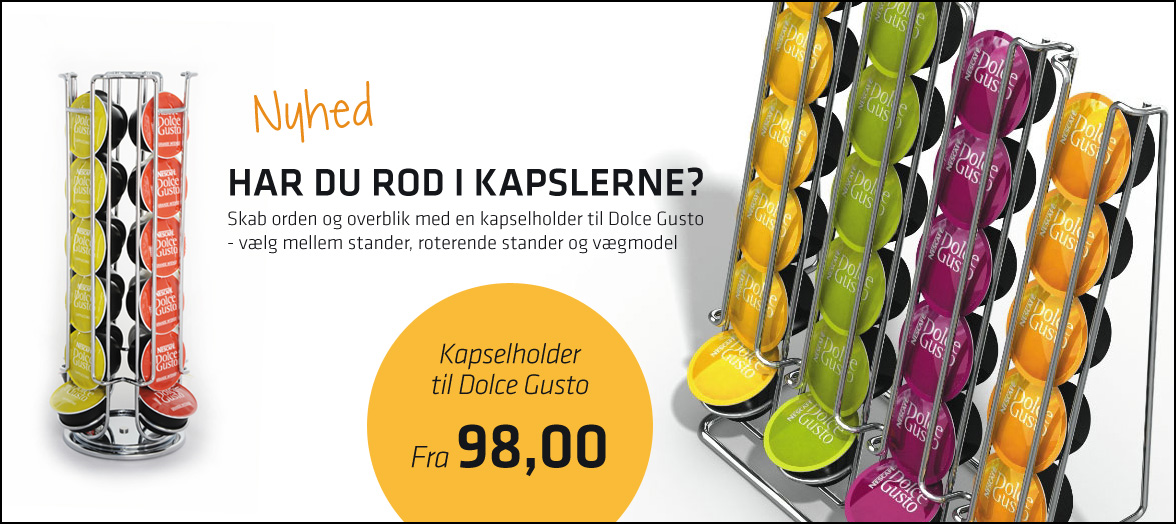 Køb kapselholdere til Dolce Gusto - vælg mellem stander, vægmodel og roterende stander