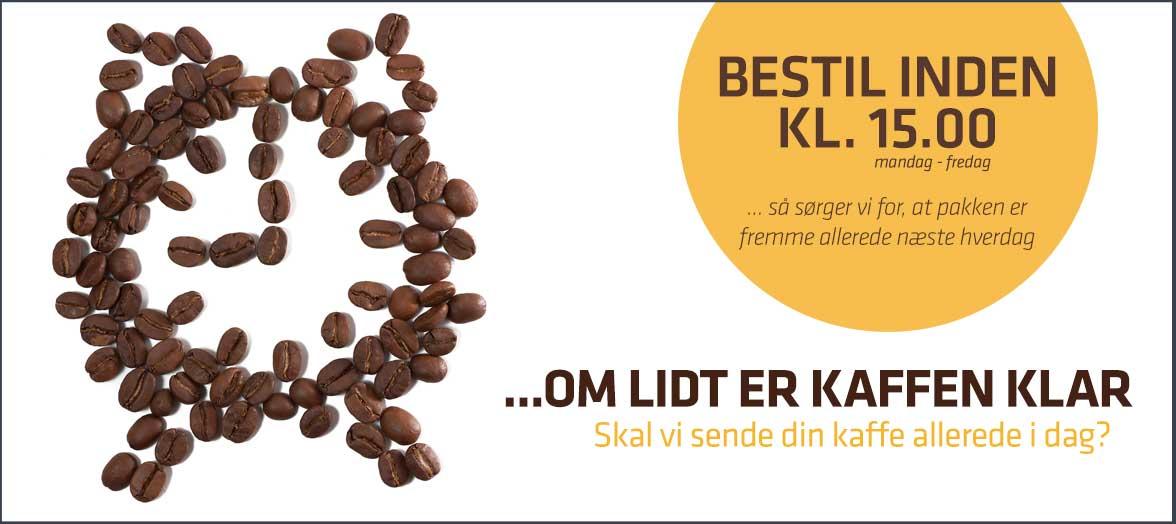 Bestil kaffekapsler inden 16.30, så sørger vi for, at pakken er fremme allerede næste hverdag